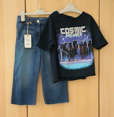 Next Girls Blue Denim Ankle Length Culotte & Navy Top Age 7 Years BNWT