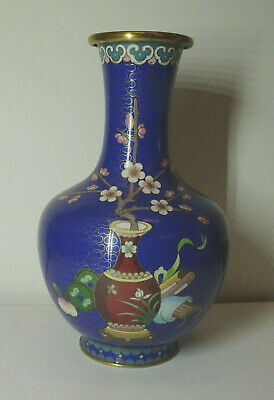 Alte Cloisonne Vase Email Top Blumen Flower alt China Asiatica