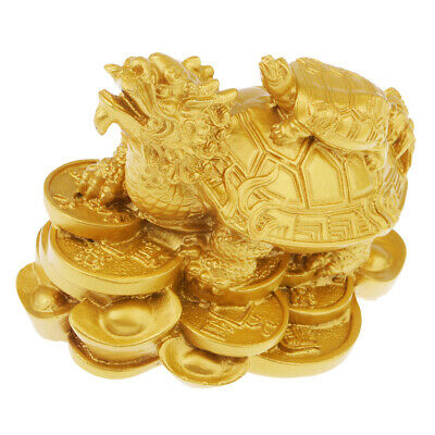 Wealth Dragon Tortoise Statue Feng Shui Figurine Home Office Car Deco Golden