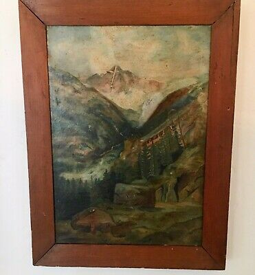 Vintage Arts & Crafts Folk Art Landscape Painting of the Mount of the Holy Cross