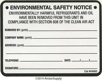 Equipment Removal  / Environmental Safety Notice Label # 04850 , Pack of (10)