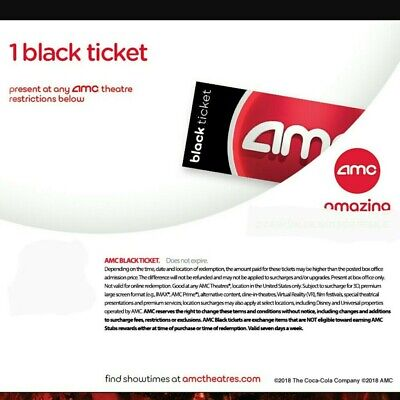 AMC Black Movie Ticket & Large Drink |Fast E-Delivery | 50 States