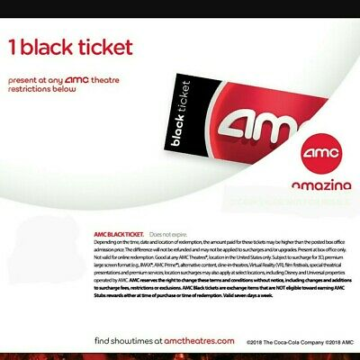 AMC Theater Black Movie Ticket | Super Fast E-Delivery | 50 States No expiration