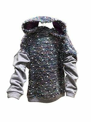 Girls Grey Pullover Hoodie with Novelty Eyelash Yarn Woven Front Panel