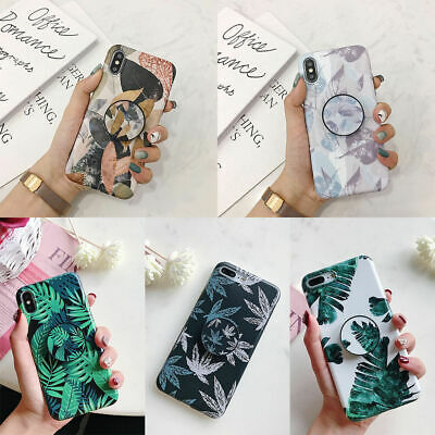 For iPhone XS Max XR 6s 7 8 Plus Flower Leaf Pattern Stand Holder TPU Case Cover