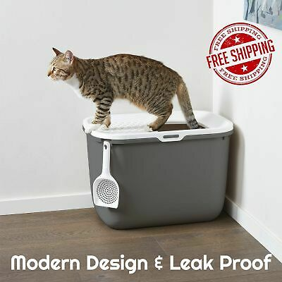 Hop In Pet Cat & Kitten Litter Tray/Box Bed LEAK FREE Anthracite & White