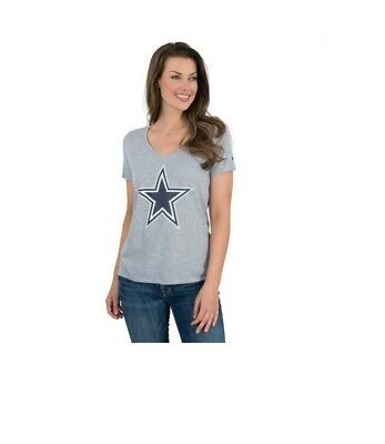 Dallas Cowboys Nike Women's DRI-FIT Mid V-Neck T-Shirt - Gray