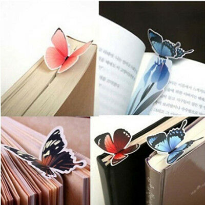 5Pcs Set 3D Butterfly Shape Paper Bookmark Book Markers Wings Open Reading LT