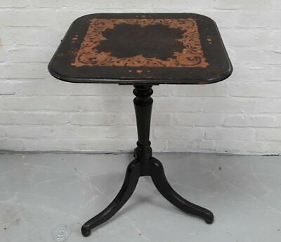 Late Victorian Art Nouveau Occasional Table With Poker Work Top Ebonised Tripod