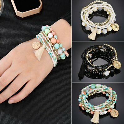 6Pcs/Set Women Ethnic Boho Multilayer Tassel Beads Bracelet Bangle Jewelry Gifts