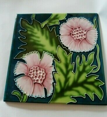 "Art Nouveau Style Ceramic Tile Hand Painted Floral Pot Stand 8"" x 8"" Inches"