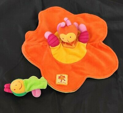 * DOUDOU PLAT MARIONNETTE  MOULIN ROTY LOUNA L/'ABEILLE  orange jaune TBE