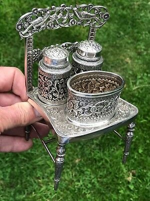 ANTIQUE ANGLO INDIAN COLONIAL SILVER CONDIMENT SET OF CHAIR. KUTCH 1910. 412 gms