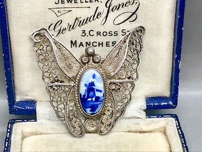 Lovely Vintage Sterling Silver Filigree Delft Butterfly Brooch