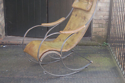 VINTAGE steel rocking chair..rw.winfield..mid century,antique,campaign chair