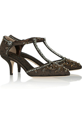 d78a499850d26 DOLCE & GABBANA Embellished Black Silk Brocade Shoes With Jeweled ...