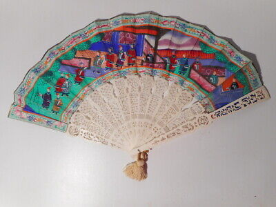 Eventail ancien chinois mille visages canton Chine 19 th XIX siècle Chinese fan