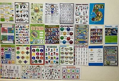 27 X Childrens Kids Educational Learning Posters Chart A4 Nursery School Home