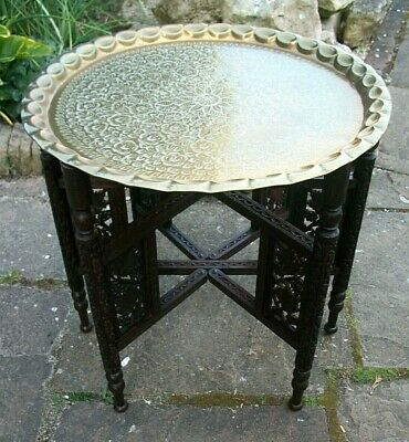 Antique Rosewood  Anglo Indian Carved Folding Side Table With Inset  Tray