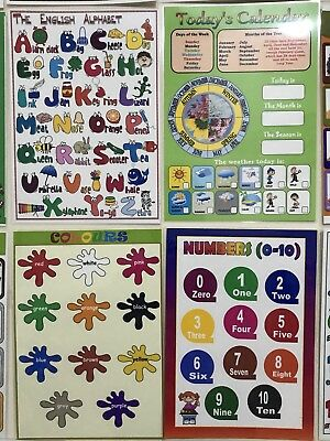 4x CHILDREN KIDS EDUCATIONAL LEARNING POSTERS A4 Alphabet Colours Numbers School