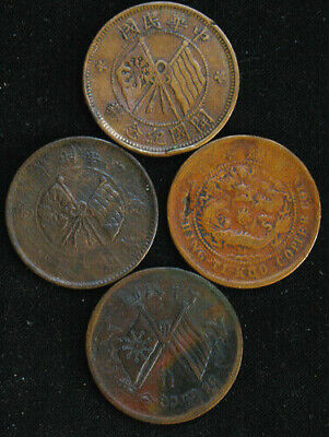 Lot of 4 China 10 Cash Empire Republic 1906 1912 1919 1920