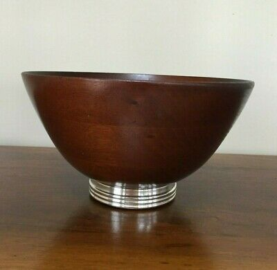 Vintage Mahogany Turned Salad Bowl with Sterling Silver Base
