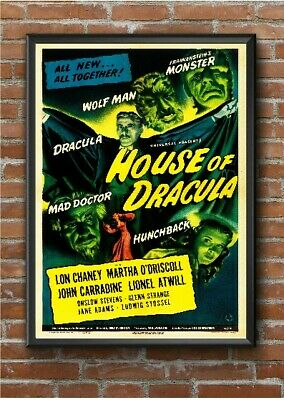 Vintage House of Dracula Horror Movie Film Poster Print Picture A3 A4 A5
