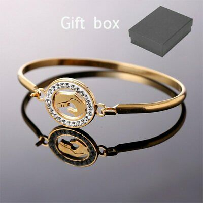 Women Gold Stainless Steel Round Crystal Bracelet Cuff Bangle Mother's Day Gift