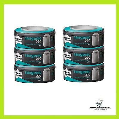 Sangenic Nappy Disposal System Refill Cassette 6 Pack Tommee Tipee