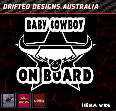 Little COWBOY On Board - baby on Board White NRL Decal