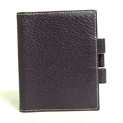 Auth Vintage Hermes Purple Leather Mini Agenda Notebook Cover France F in Square