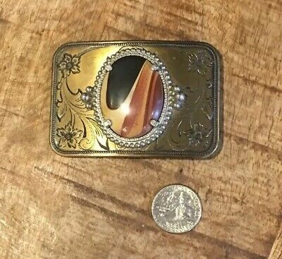 "Vintage Brass Tone Belt Buckle with Agate/Stone Insert 3"" 1/4W x 2"" 1/4T"
