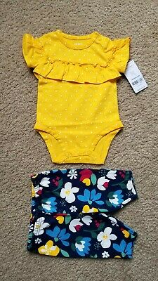 0928e1ab57d9 NWT Carter's Baby Girl 2 Piece Outfit Set Yellow Polka Dot/Floral Newborn