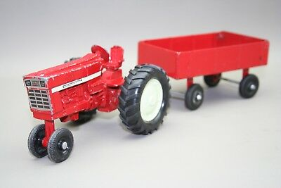 Vintage - Ertl - Red Metal Farm Tractor And Red Wagon - 1/16 Scale
