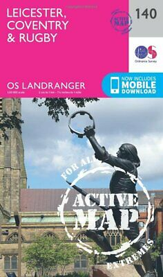 Landranger Active 140 Leicester, Coventry  Rugby OS Landranger Map