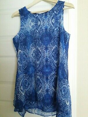 NEW S Fever Womens Double Layer Blue Damask Chifon Sleeveless Blouse Tunic Top