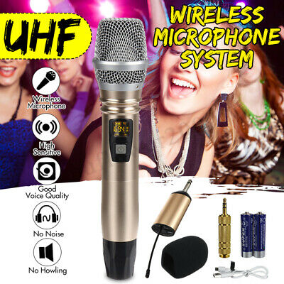 Pro LED Display UHF Wireless Handheld Microphone W/ 6.5mm Receiver Home KTV New