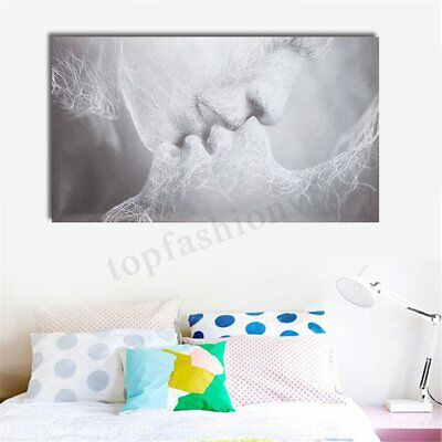 40x24'' Large Framed Love Kiss Abstract Oil Canvas Wall Art Print Painting