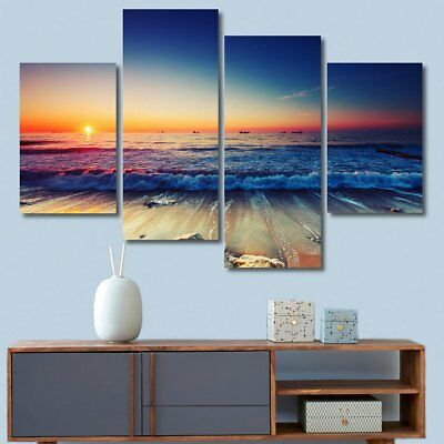 4Pcs Framed canvas prints seascape print Sunset beach modern art wall ocean 1