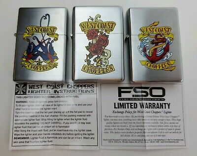 New Set of 3 - 2007 Limited Edition West Coast Choppers Lighters - Free Shipping