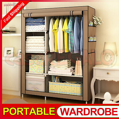 Portable Clothes Closet Wardrobe Storage Cabinet Organiser Unit with Shelf