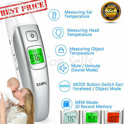 Digital Forehead and Ear Thermometer Infrared Baby Adult Dual Toddler FDA CE