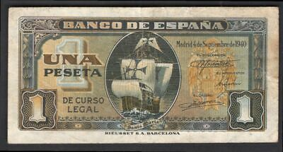 Spain; Banco De Espana. 1 peseta. 4-9-1940. A5433879. (Pick 122a). VF.