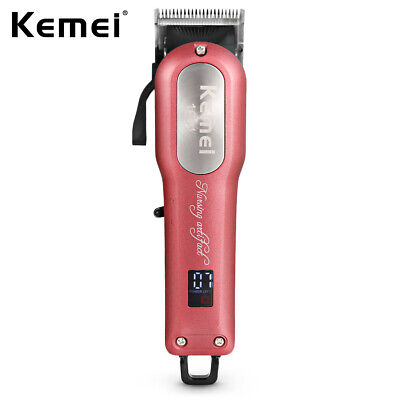 Kemei Adjustable Cordless Powerful Motor Hair Clipper With 4 Guide Combs Kit NEW