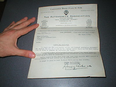 1931 Automobile Association Signed Letter relating to Police + Reply, 2 items