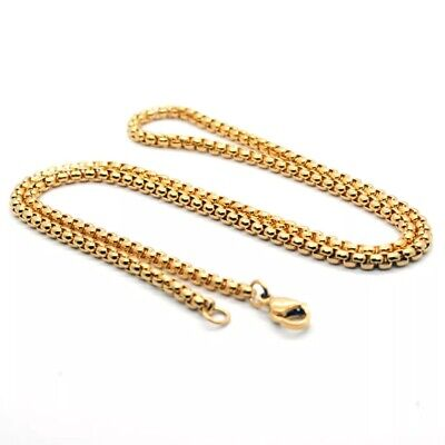 """Wholesale 18K Gold Plated 3mm Square Rolo Box Cylinder Chain Necklace 18""""- 28"""""""