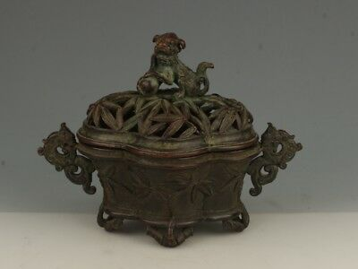 Heavy Chinese Copper/Bronze incense burner with Lion/Bamboo pattern