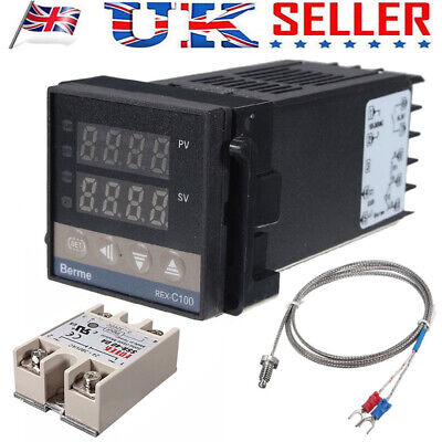 REX-C100 PID Temperature Controller 100-240V + 40A SSR +K Thermocouple 0-400℃ UK