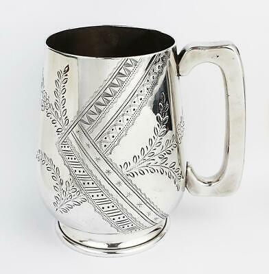 Victorian AESTHETIC MOVEMENT SILVER PLATED TANKARD c1880