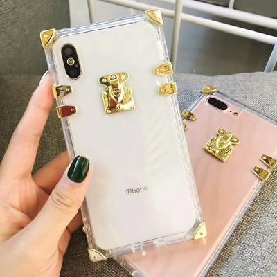 best loved 2b99b f4049 LUXURY CLEAR CRYSTAL Metal Trunk Square Soft TPU Case For iphone XR ...